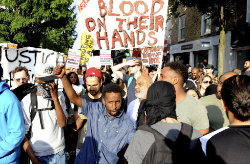 Protesters took to the streets after the Government's failure to respond properly to the Grenfell Tower traged