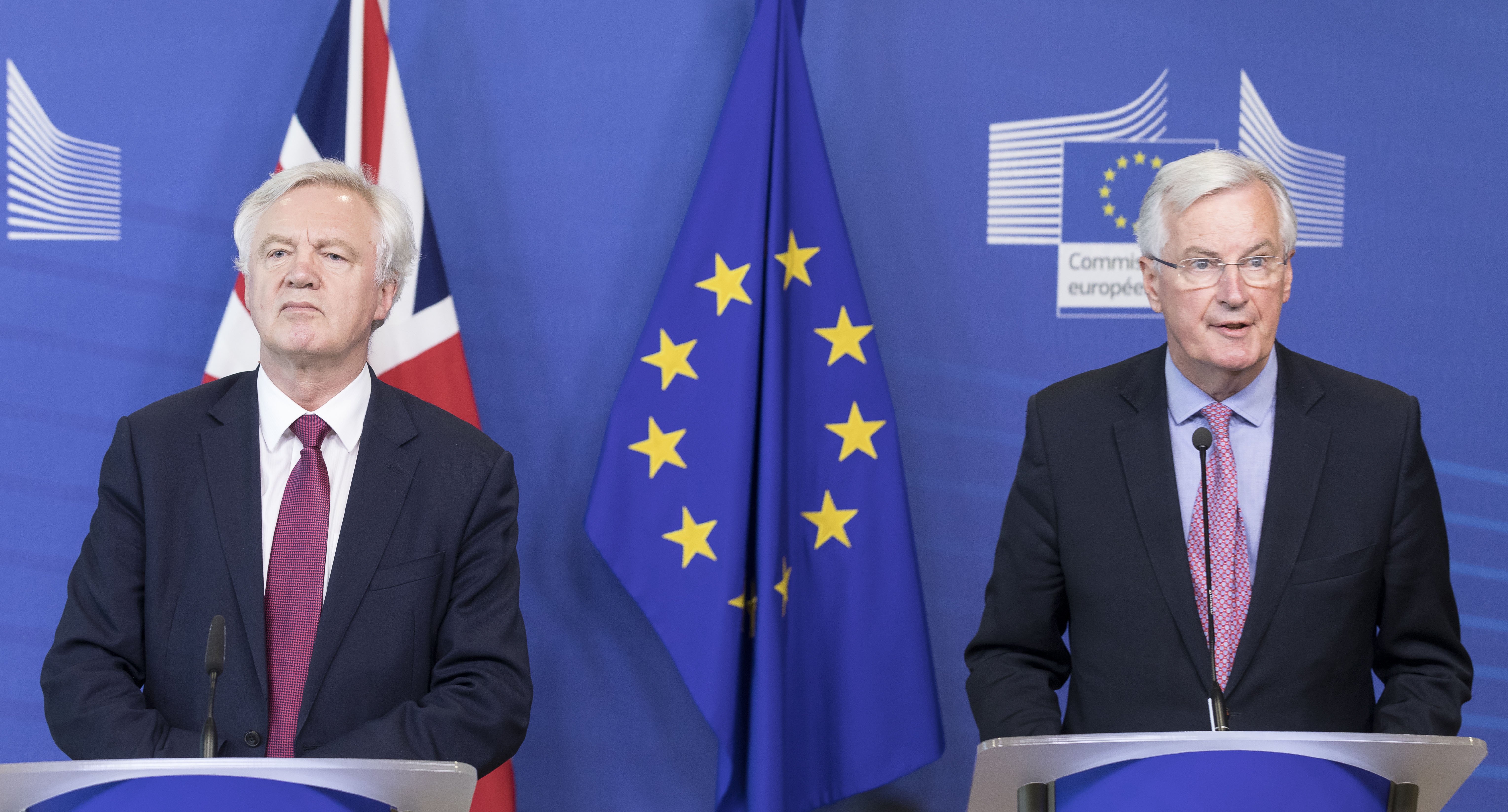 David Davis and Michel Barnier at a joint press conference last month