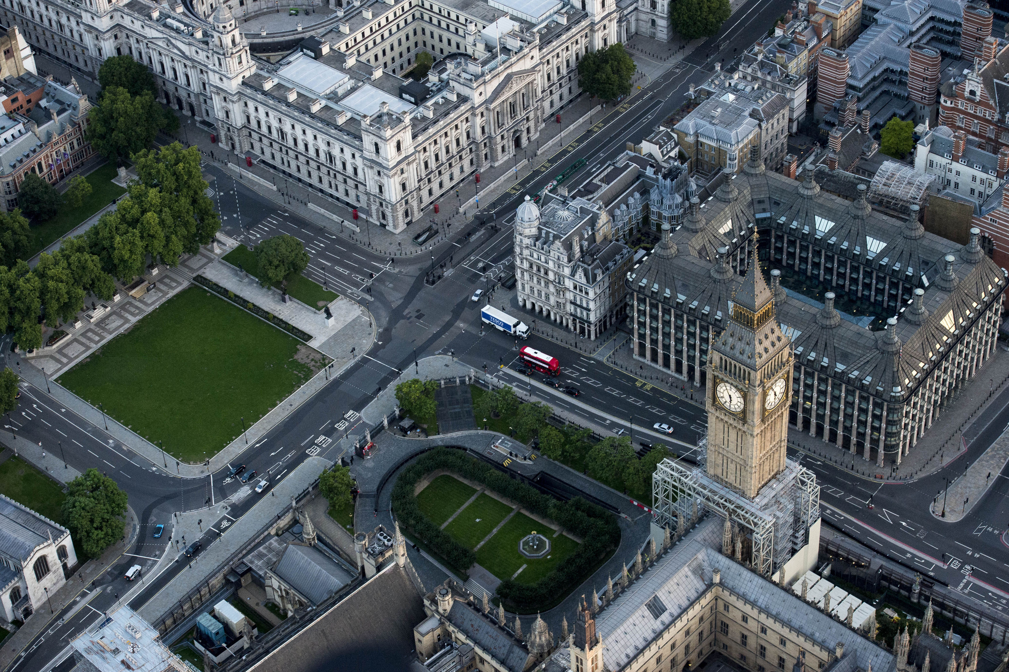 An aerial view of the Elizabeth Tower, which contains Big Ben