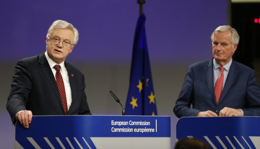 Brexit Secretary David Davis alongside the European Commission's lead negotiator, Michel Barnier