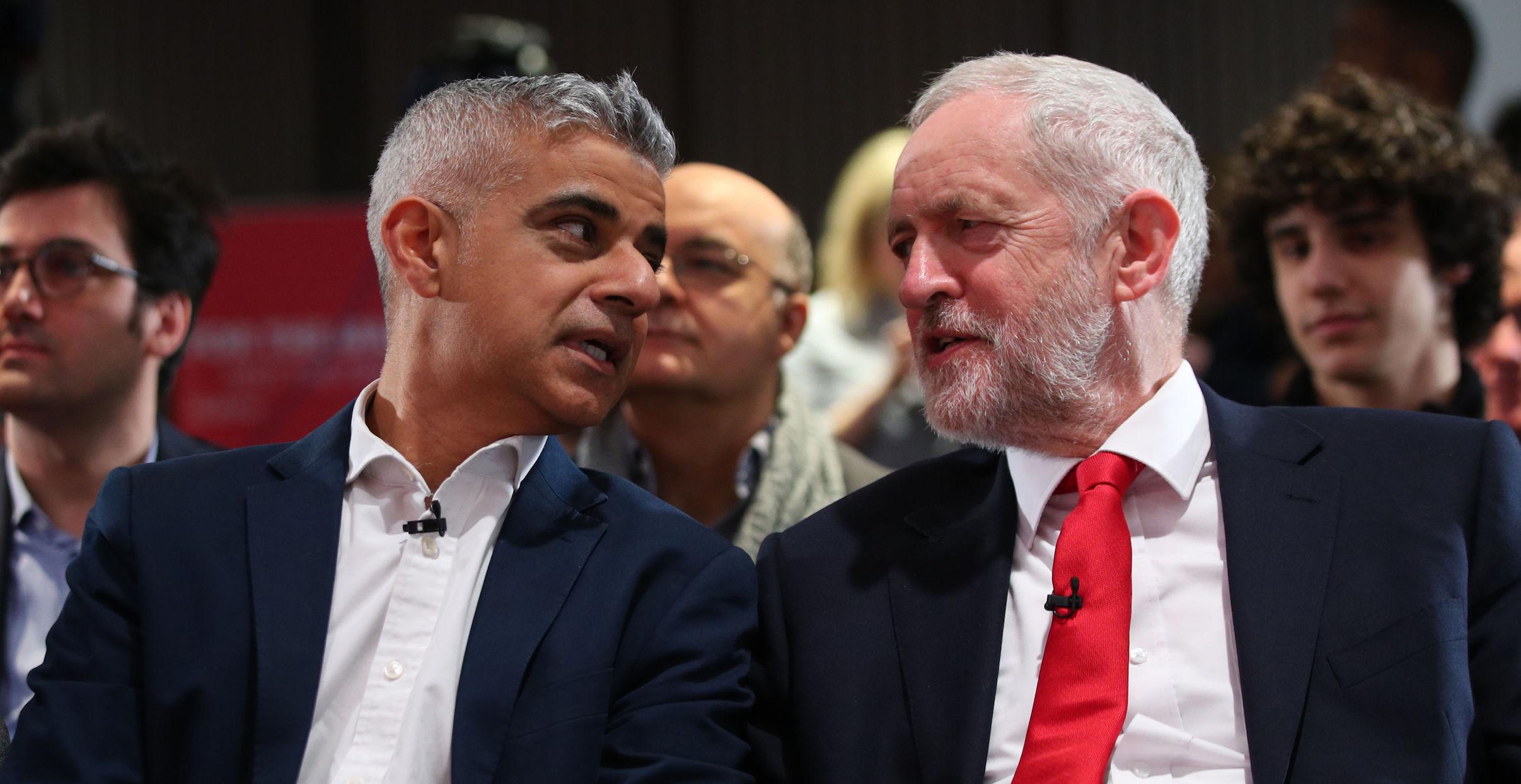London mayor Sadiq Khan with Labour leader Jeremy Corbyn