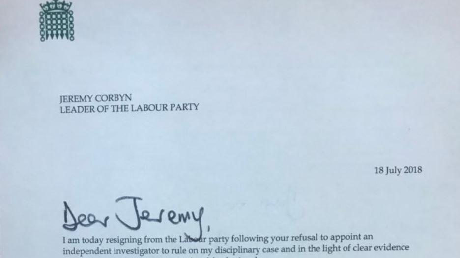 Letter from John Woodcock to Jeremy Corbyn