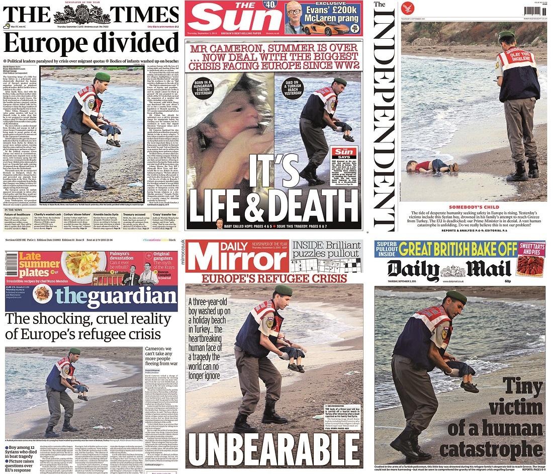 Newspaper front pages on the refugee crisis