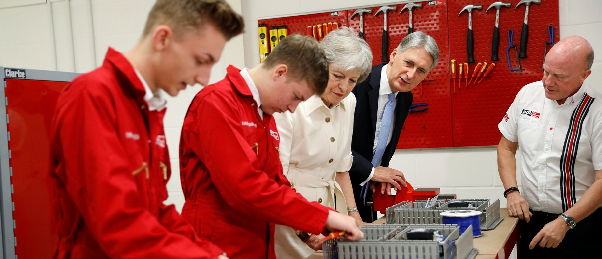 Apprentices with Theresa May and Philip Hammond