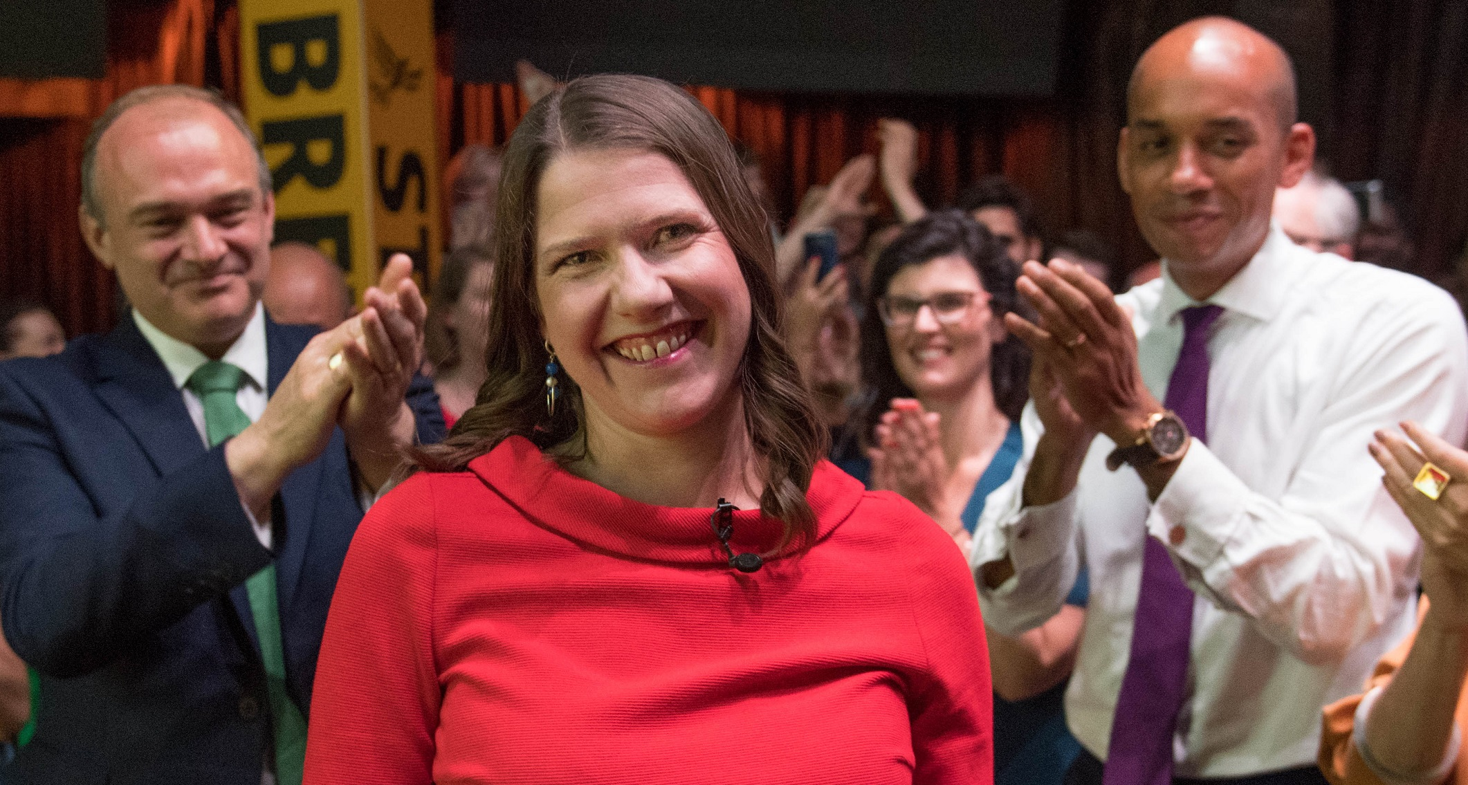 Jo Swinson at the Lib Dem event announcing her as leader