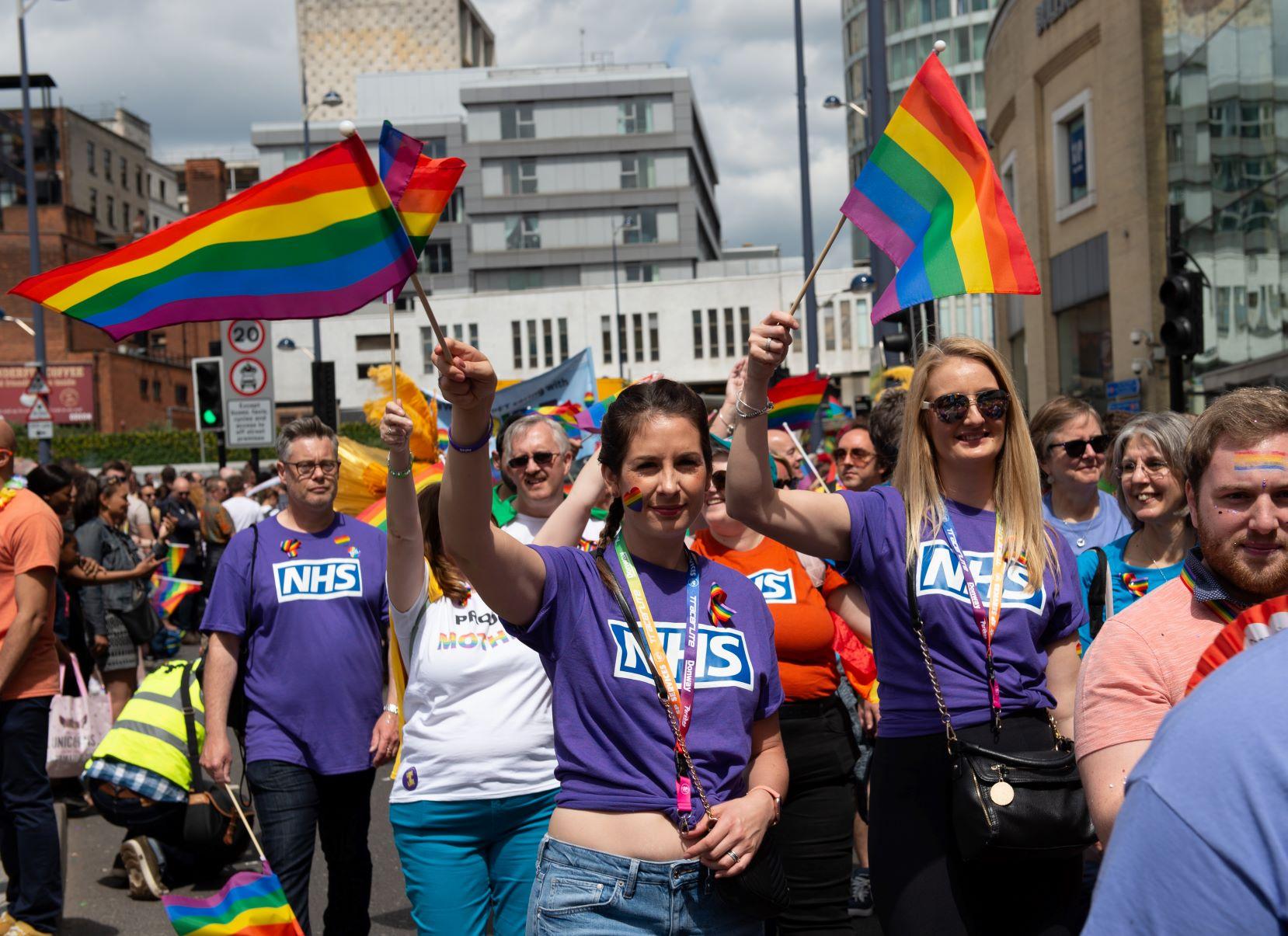 Representatives of the NHS taking part in the parade kickstarting Birmingham Pride