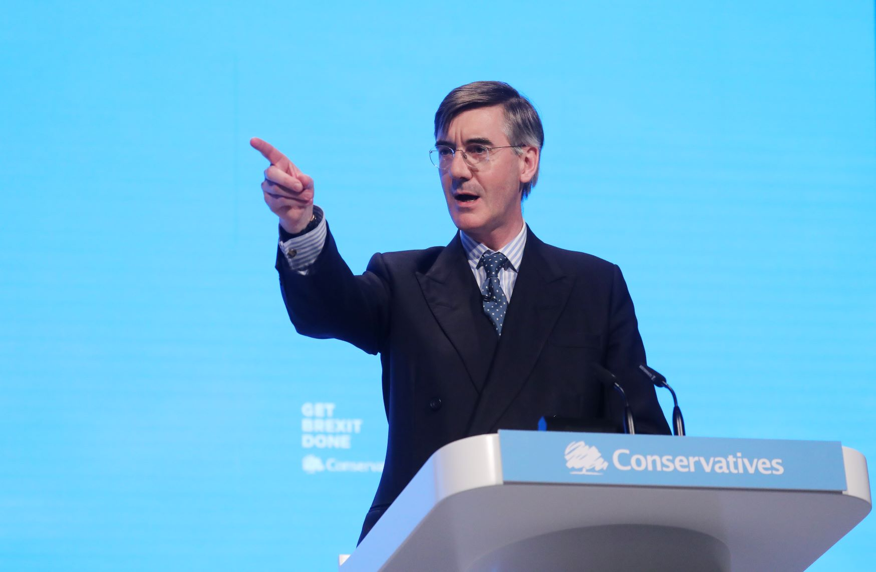 Leader of the House of Commons Jacob Rees-Mogg delivers a speech during the