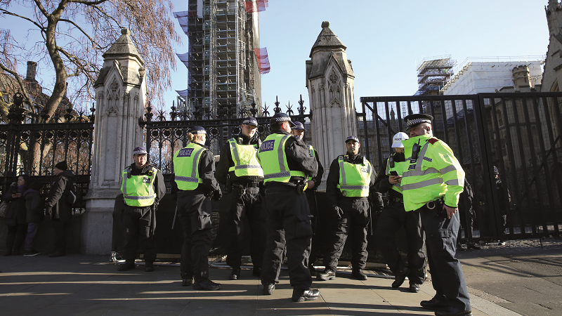 Police outside Parliament