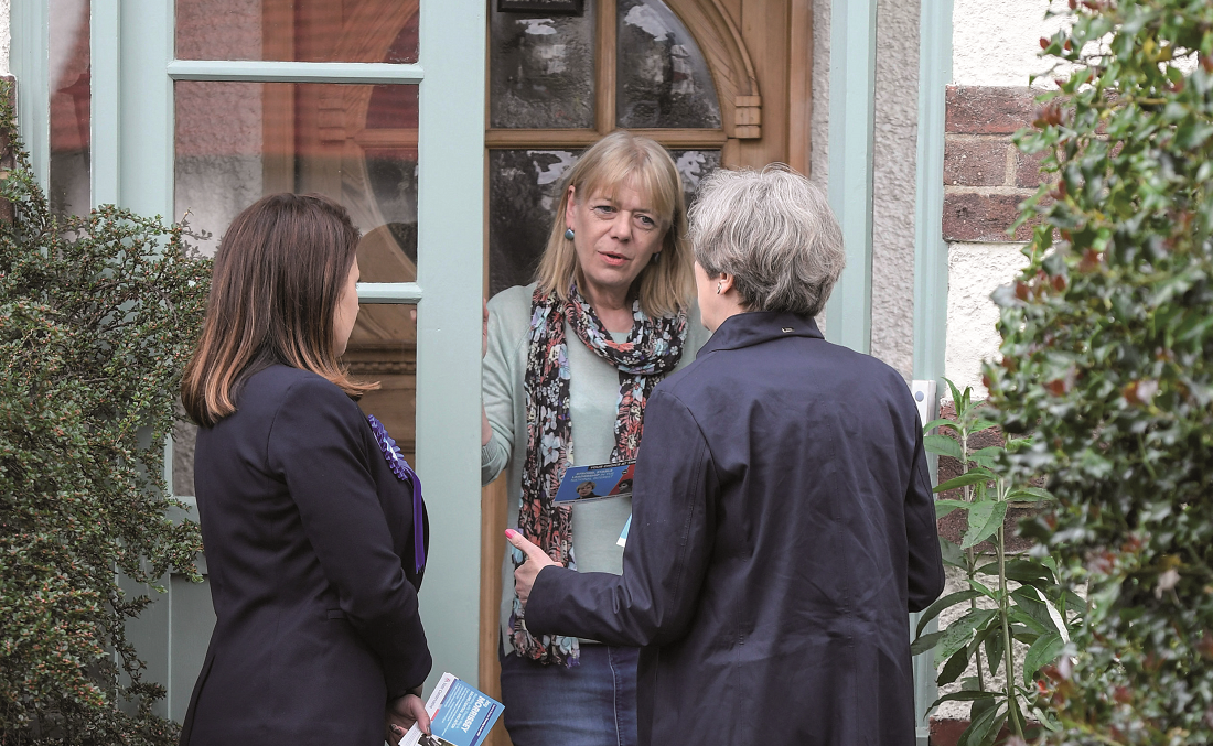 Prime Minister Theresa May goes canvassing with local Conservative candidate Joy Morrissey in Ealing