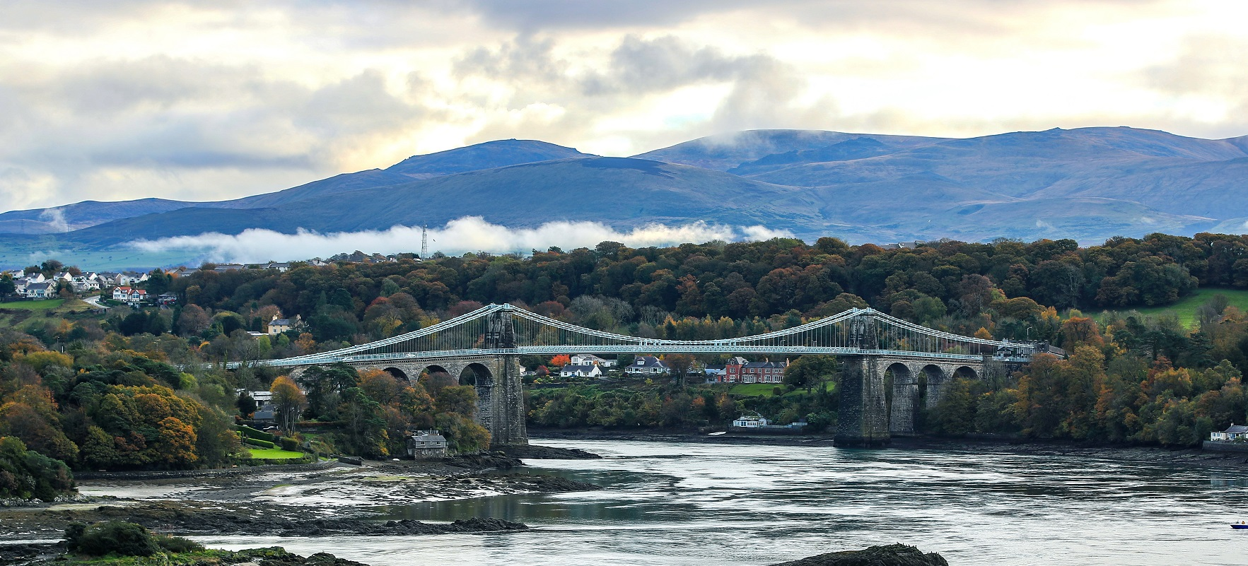 The Menai Bridge in Anglesey, North Wales, where Plaid Cymru launched their General Election campaign