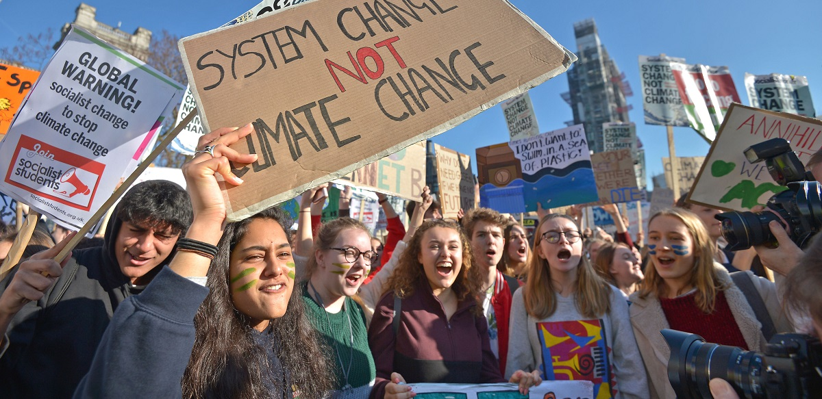 School pupils protesting over climate change