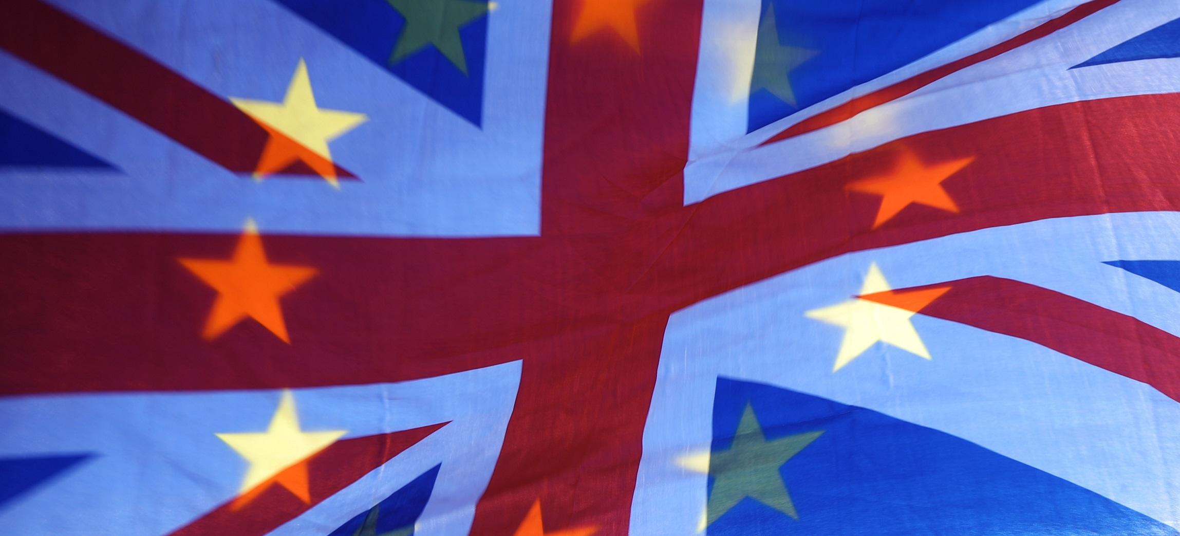 Union jack with EU stars - Brexit