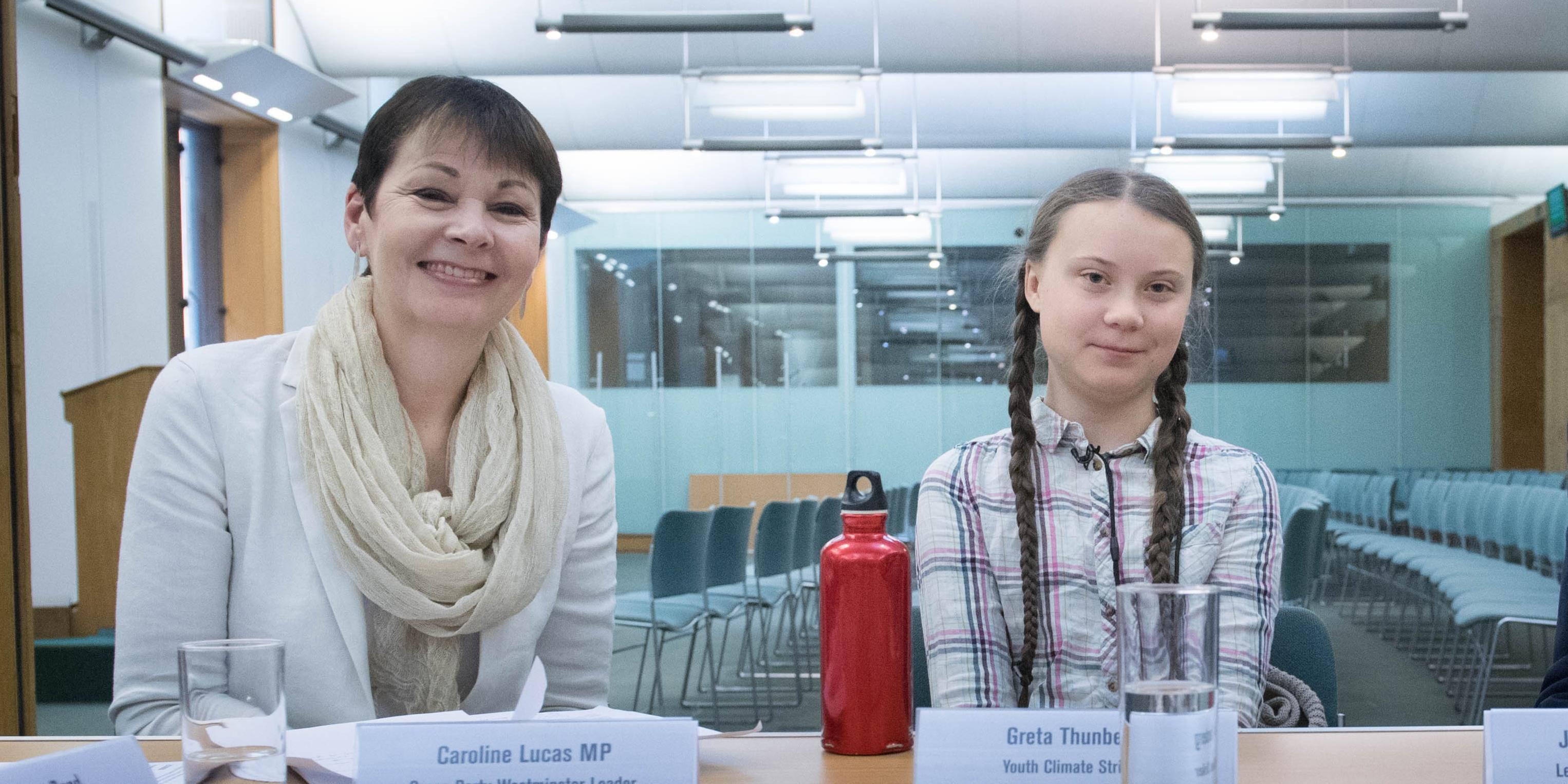 Swedish climate activist Greta Thunberg meets Caroline Lucas on 23rd April 2019 in Westminster
