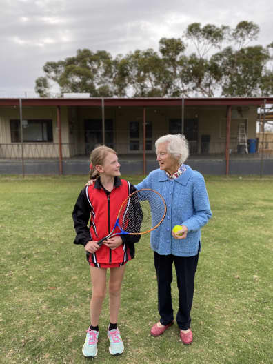 Beverley District High School Year 4 student Abigail Bailey with Mrs Mary Blechendyn at the Beverley Lawn Tennis Club
