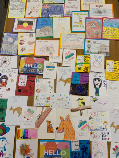 Image of cards designed by students.