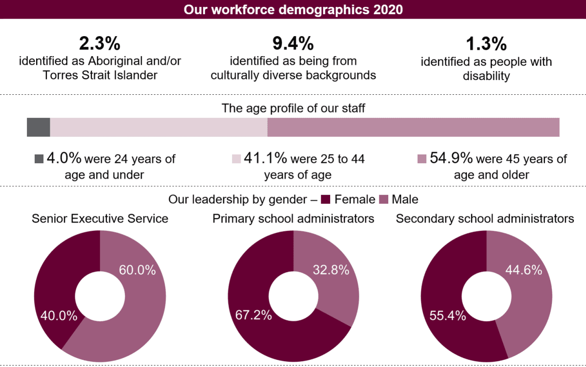 Infographics page displaying the demographic information in the table that follows.