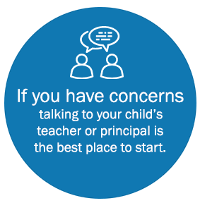If you have concerns talking to your child's teacher or principal is the best place to start.