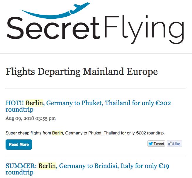 When I saw my Secretflying newsletter, I got out my debit card