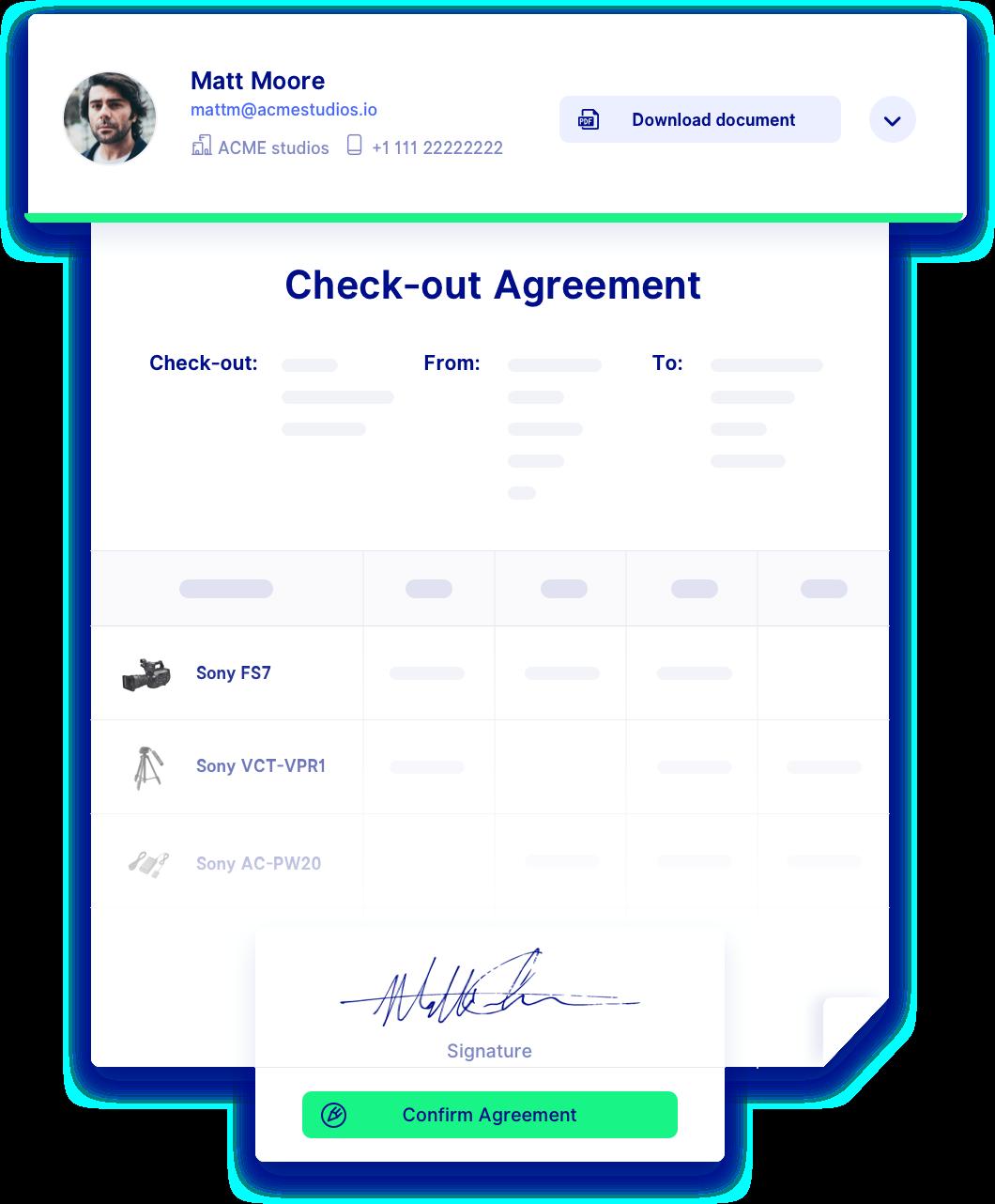 asset checkout software signature