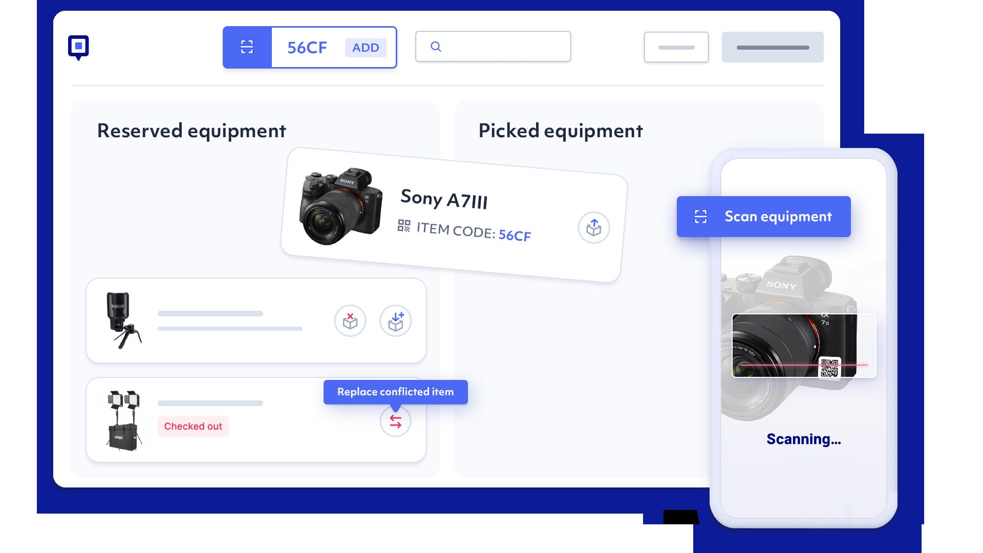 equipment checkout app