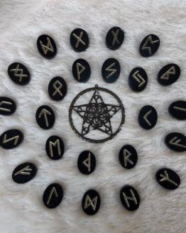 Black Wooden Runes