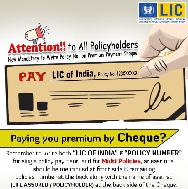 Pay premium Online By Cheque