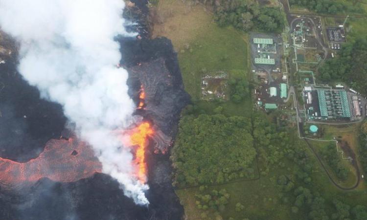 Lava creeps to edge of geothermal plant on Hawaii's Big Island