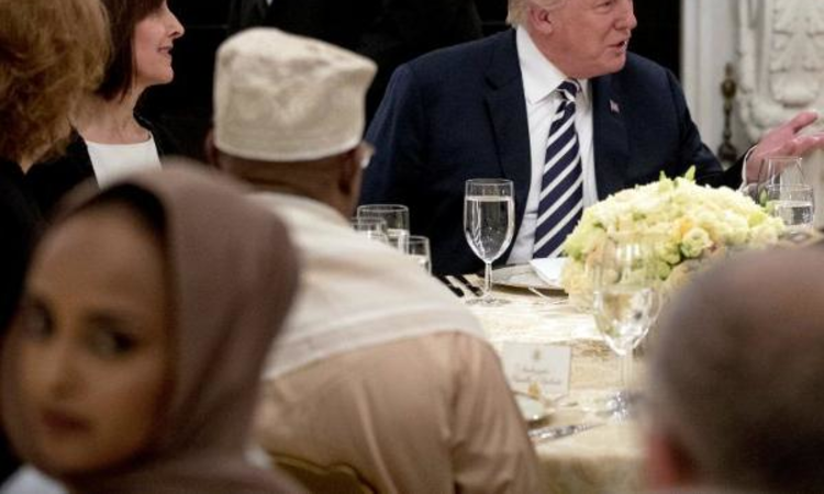 Trump hosts iftar dinner at White House, as demonstrators protest immigration laws