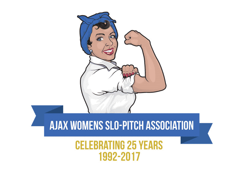 Ajax Womens Slo-Pitch Celebrating 25 years logo