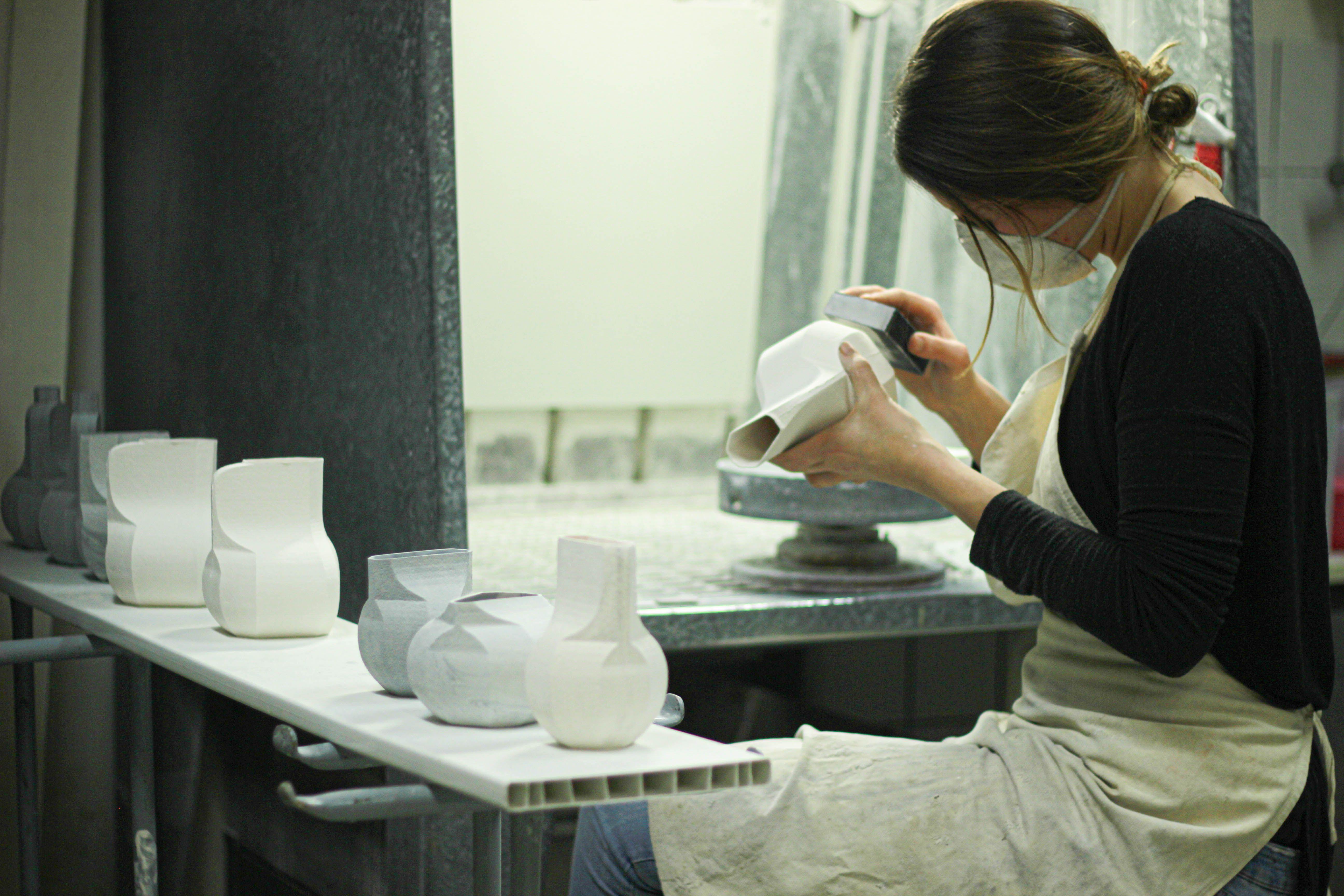 Sanding the prototypes