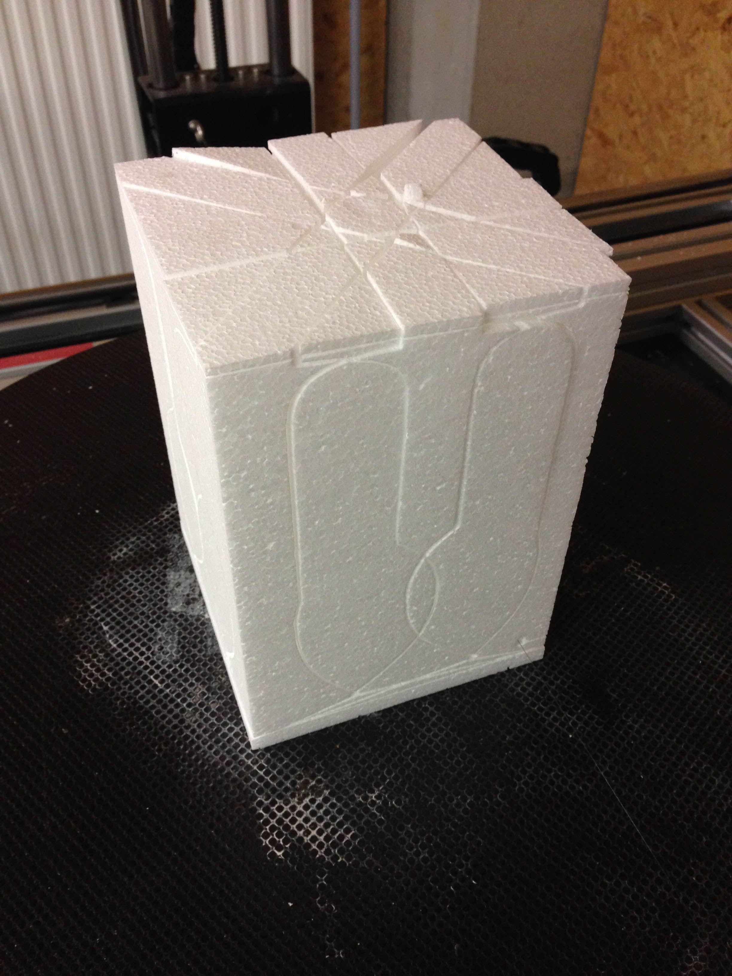 Styrofoam block cutted