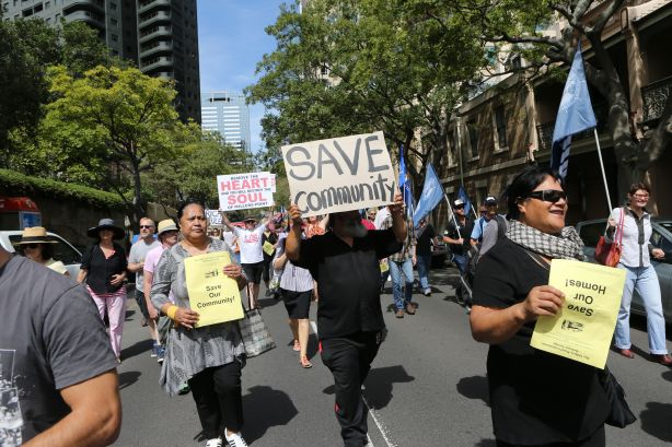 Union Solidarity Rally for Millers Point public housing tenants.Protestors gather in Kent st millers point sydney to protest against eviction of housing commission tenants. Photography Brendan Esposito smh,2013,25th March