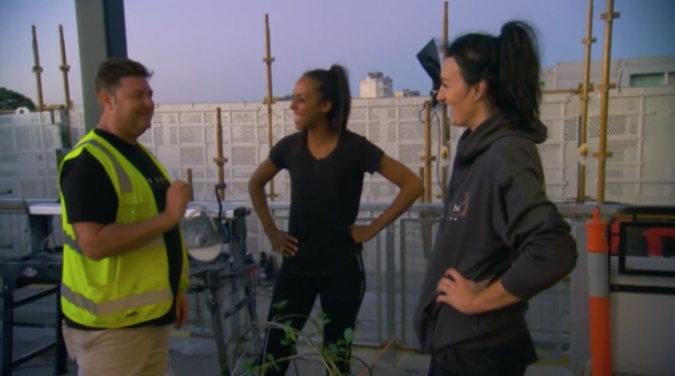 Bianca and Carla talking to their landscaper, Dave Franklin.