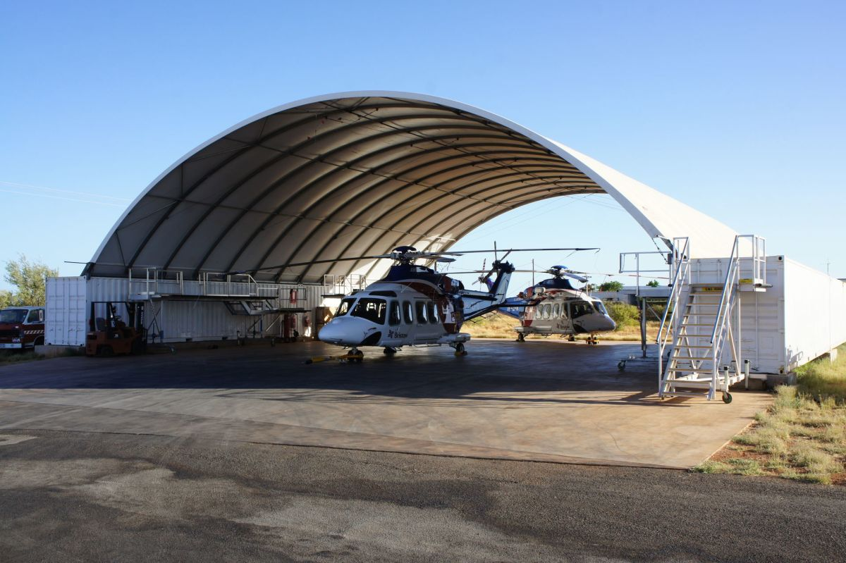 Helicopter Underneath A DomeShelter
