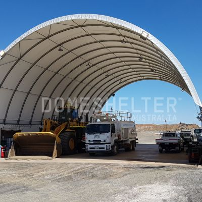 DomeShelter for storing vehicles.