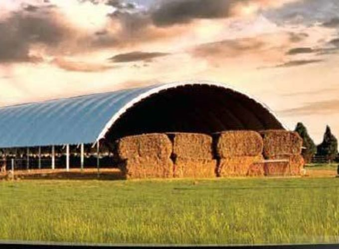 DomeShelter being used to store hay bales.