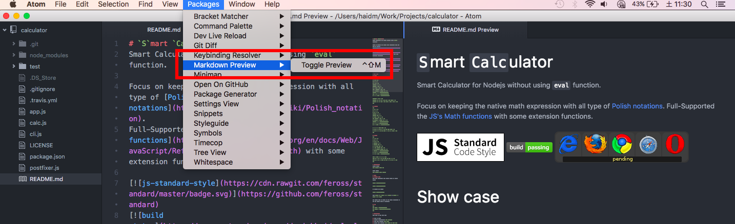 show atom markdown preview