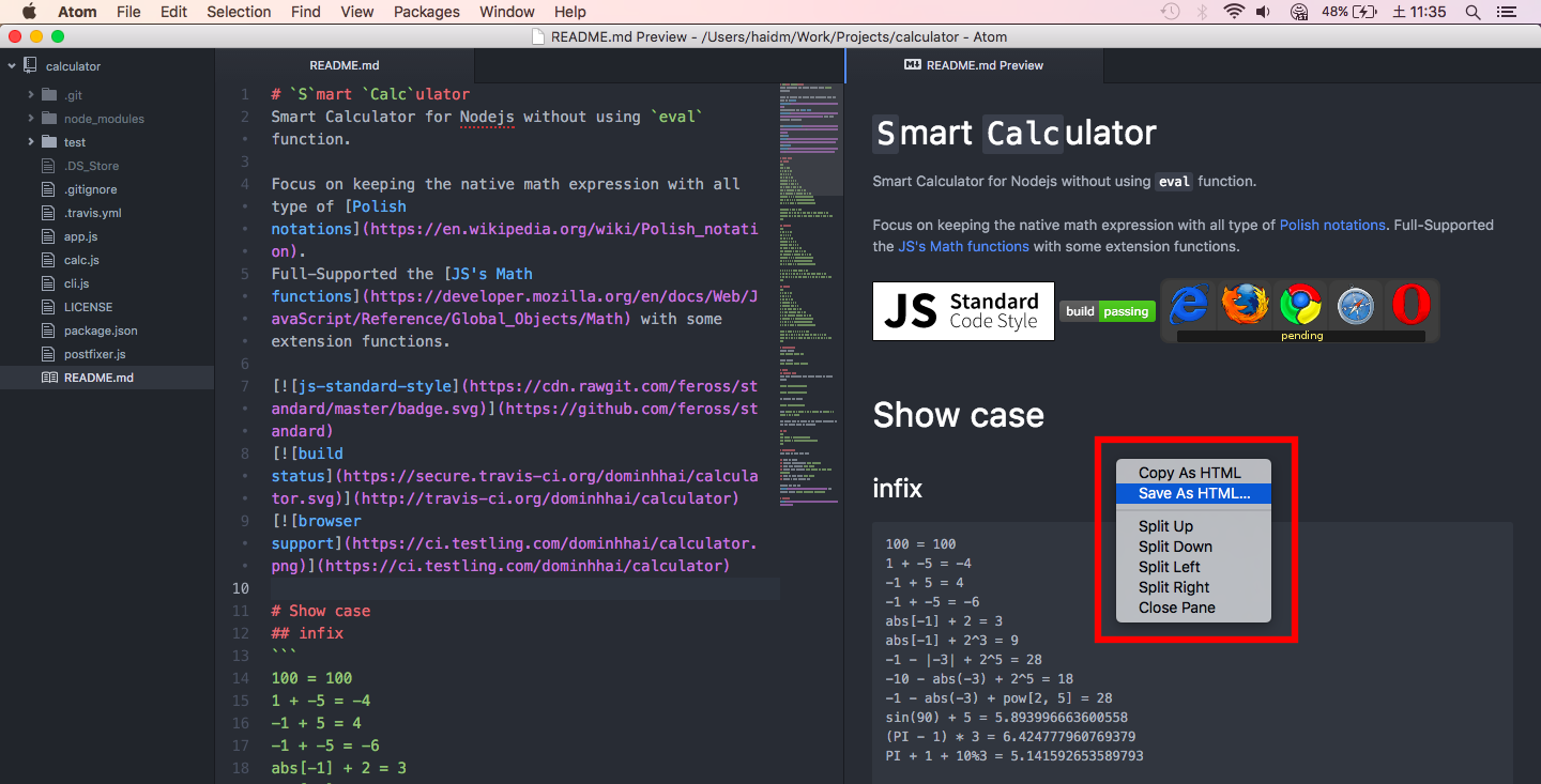save atom markdown preview