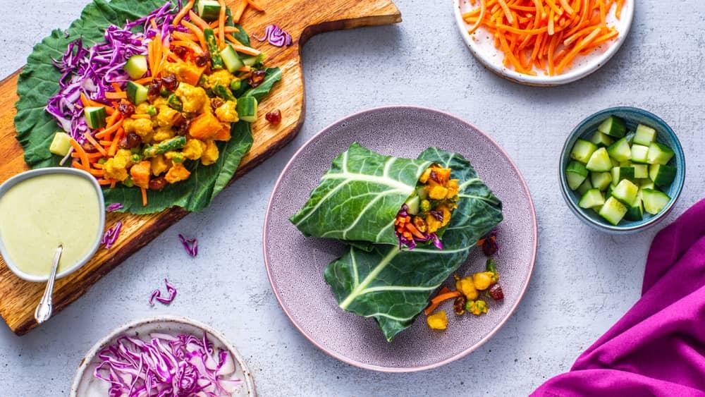 Chickpea Korma Collard Wraps Recipe