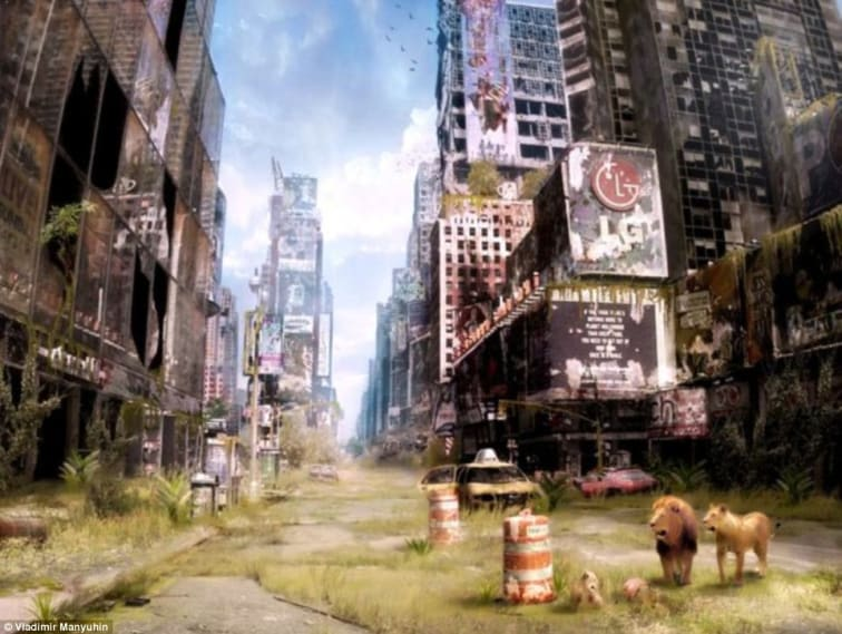 image of New York's Times Square from Russian artist Vladimir Manyuhin's Life after the Apocalypse