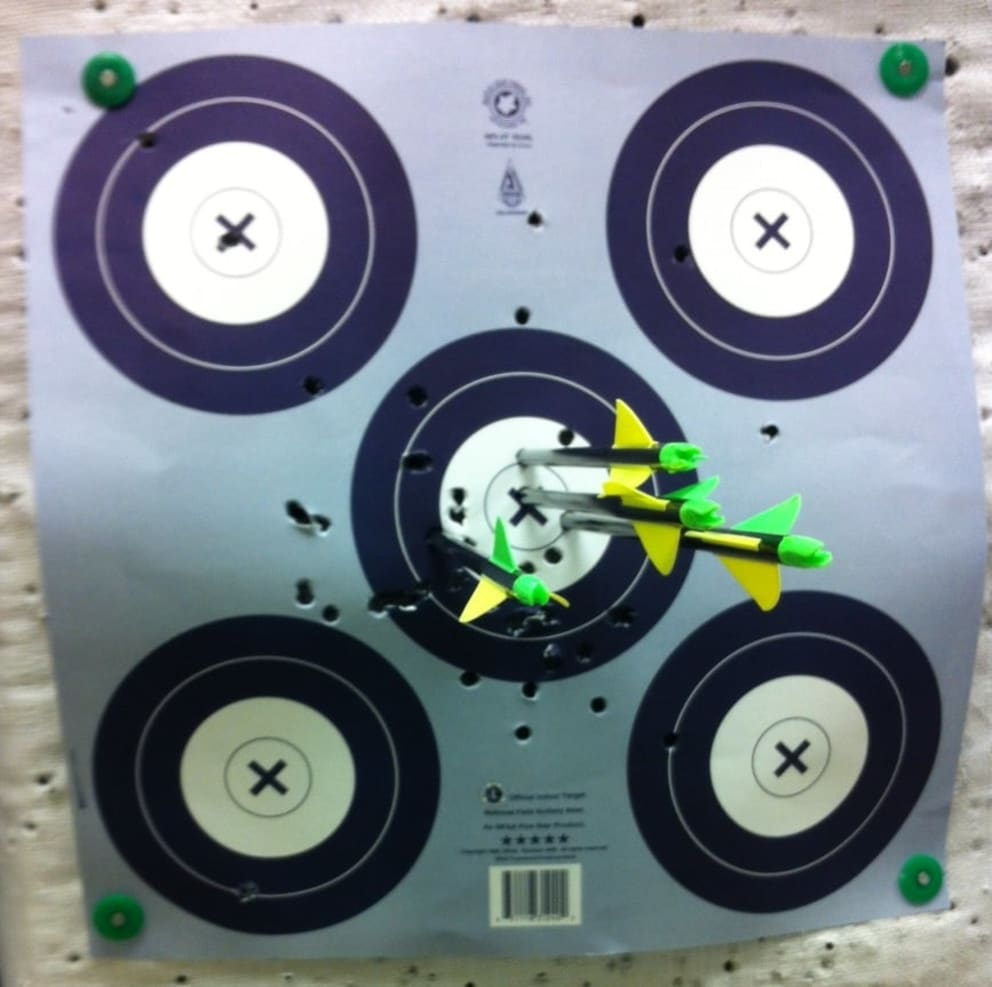 Shooting range target full of arrows very close to center