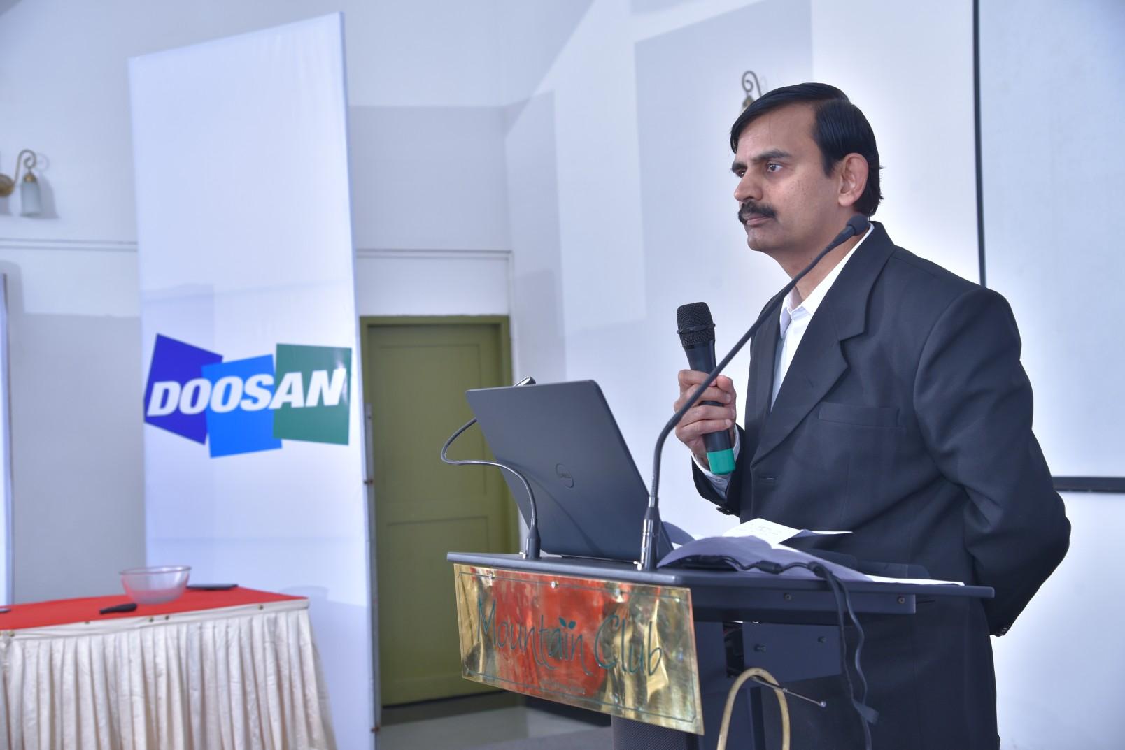 BS Srinivas gives speech