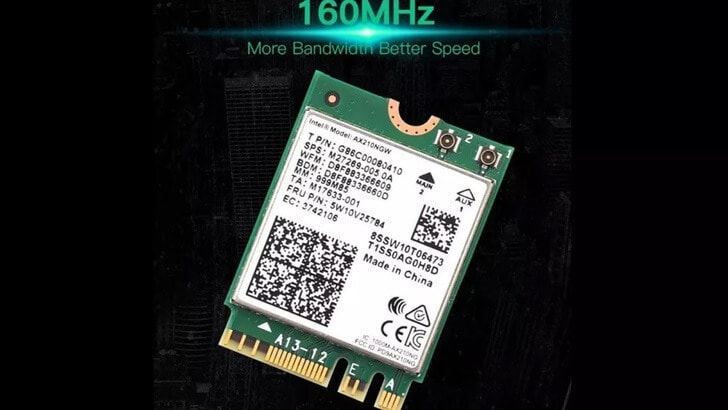 Intel Wi-Fi 6E AX210 card wireless M.2