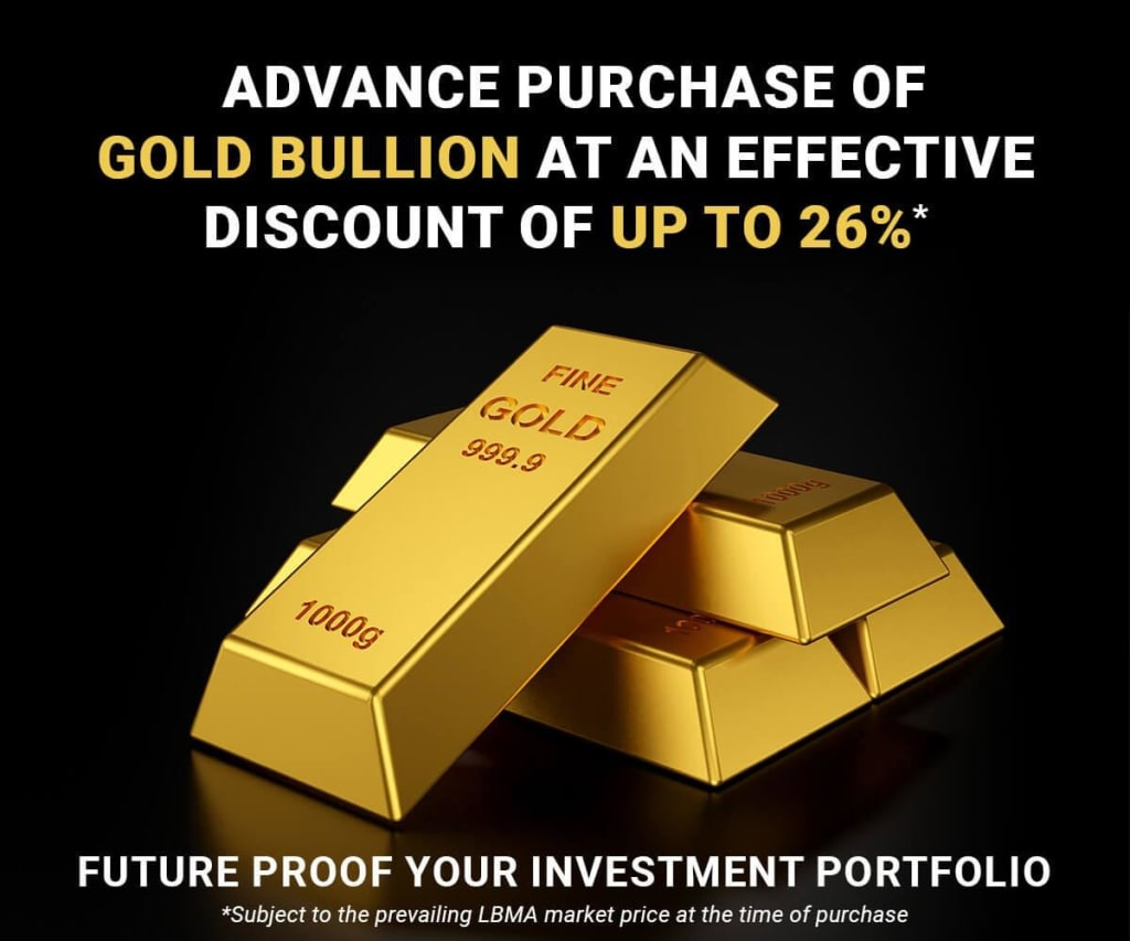 Purchase Gold Bullion at an effective discount of up to 26% – Gold delivered monthly