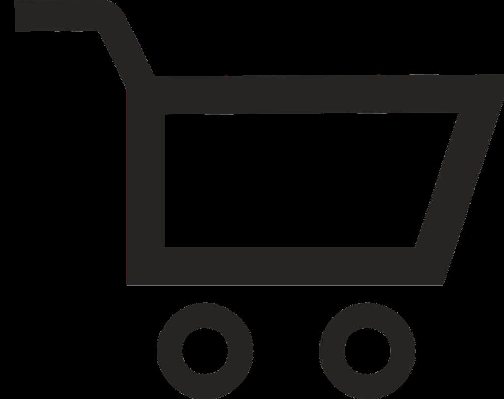 Ein weißer Hintergrund mit einem schwarzen fast abstrakten Einkaufswagen im Vordergrund.