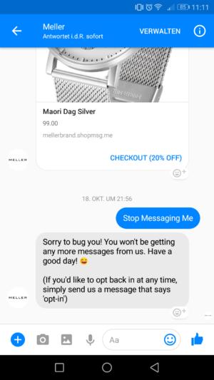 Der Screenshot zeigt einen abgelehnten Chatverlauf durch einen Bot von Mellerbrand.