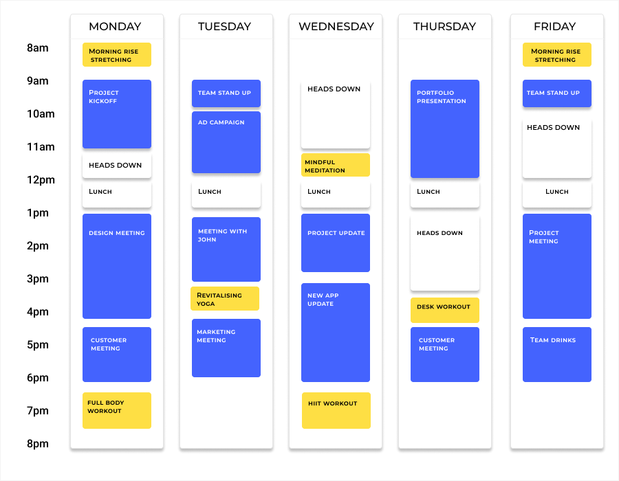 calendar with classes