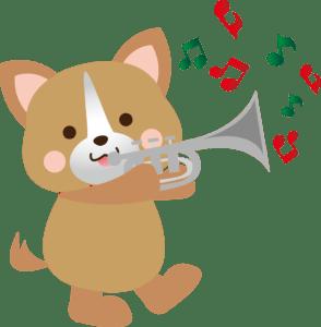 トランペットをふく犬