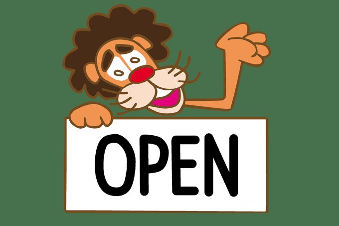 OPENをもったライオン