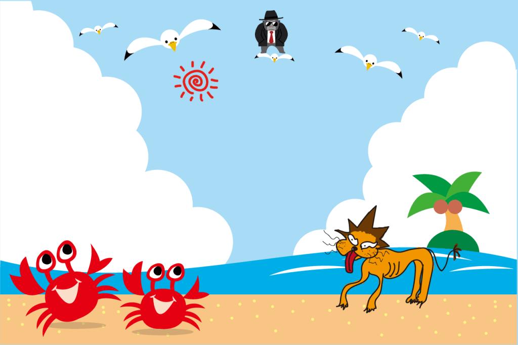 海岸の蟹とらいおんのぱぱ